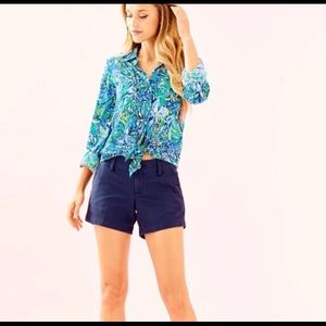 NEW Lilly Pulitzer Sea View Rayon Button Down